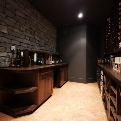 Dark Wood Wine Cellar Room Entrance