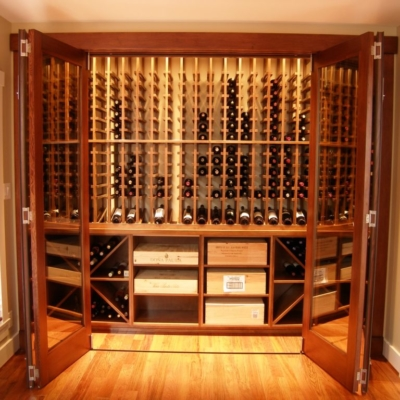 Front Doors Open Light Wood Wine Cellar