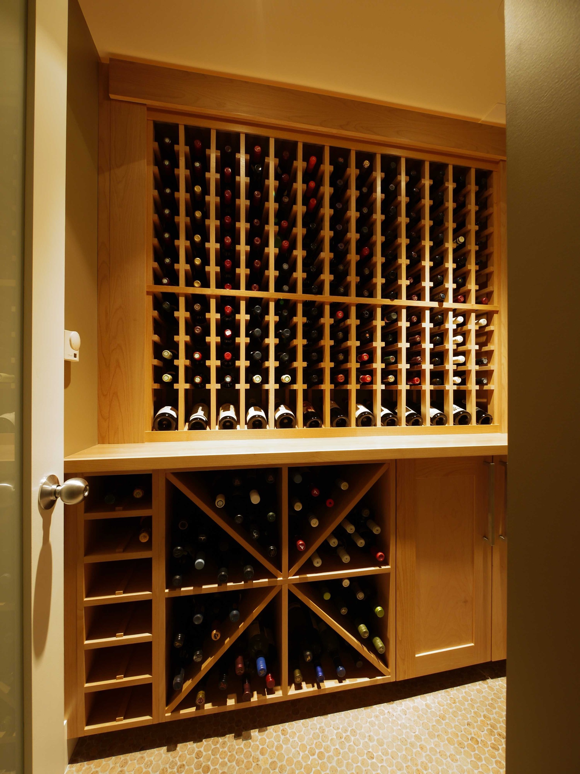 Entrance Light Wood Wine Cellar Racks