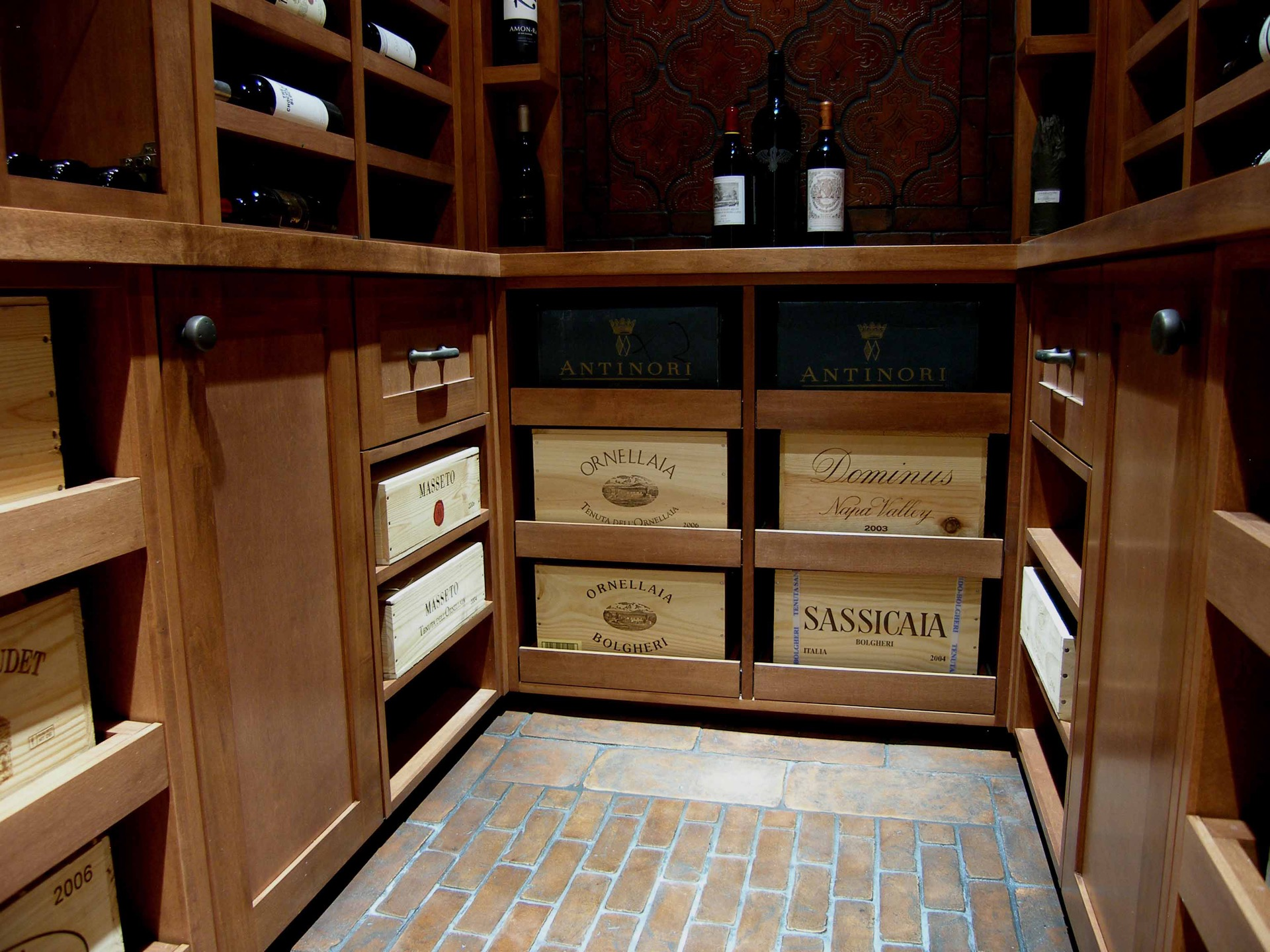 Close up Wine Cellar Drawers Light Wood