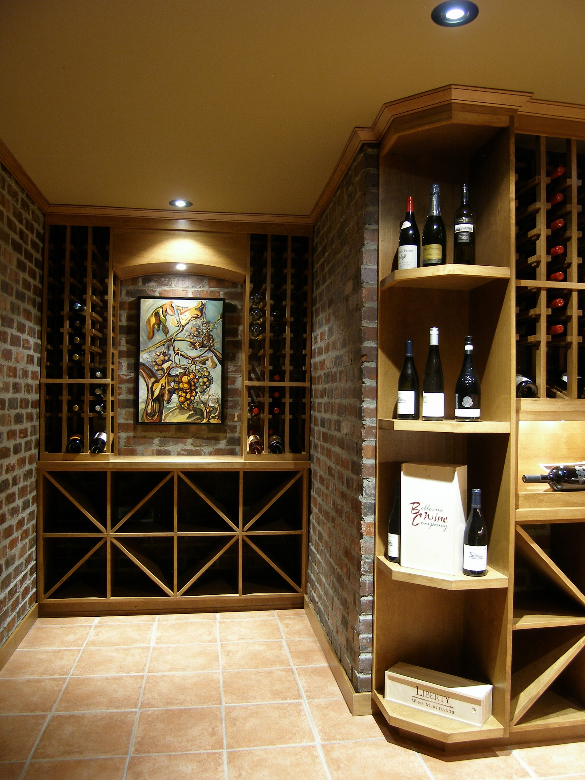 Front Facing Light Wood Wine Cellar
