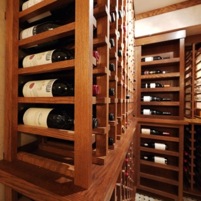 Close Up Wood Wine Cellar Racks