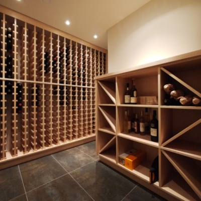 Angle Light Wood Wine Cellar Racks