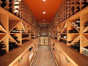 Narrow Light Wood Wine Cellar with Drawers