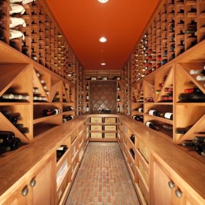 Narrow Light Wood Wine Cellar with Drawers