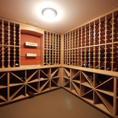 Angle Light Wood Wine Cellar