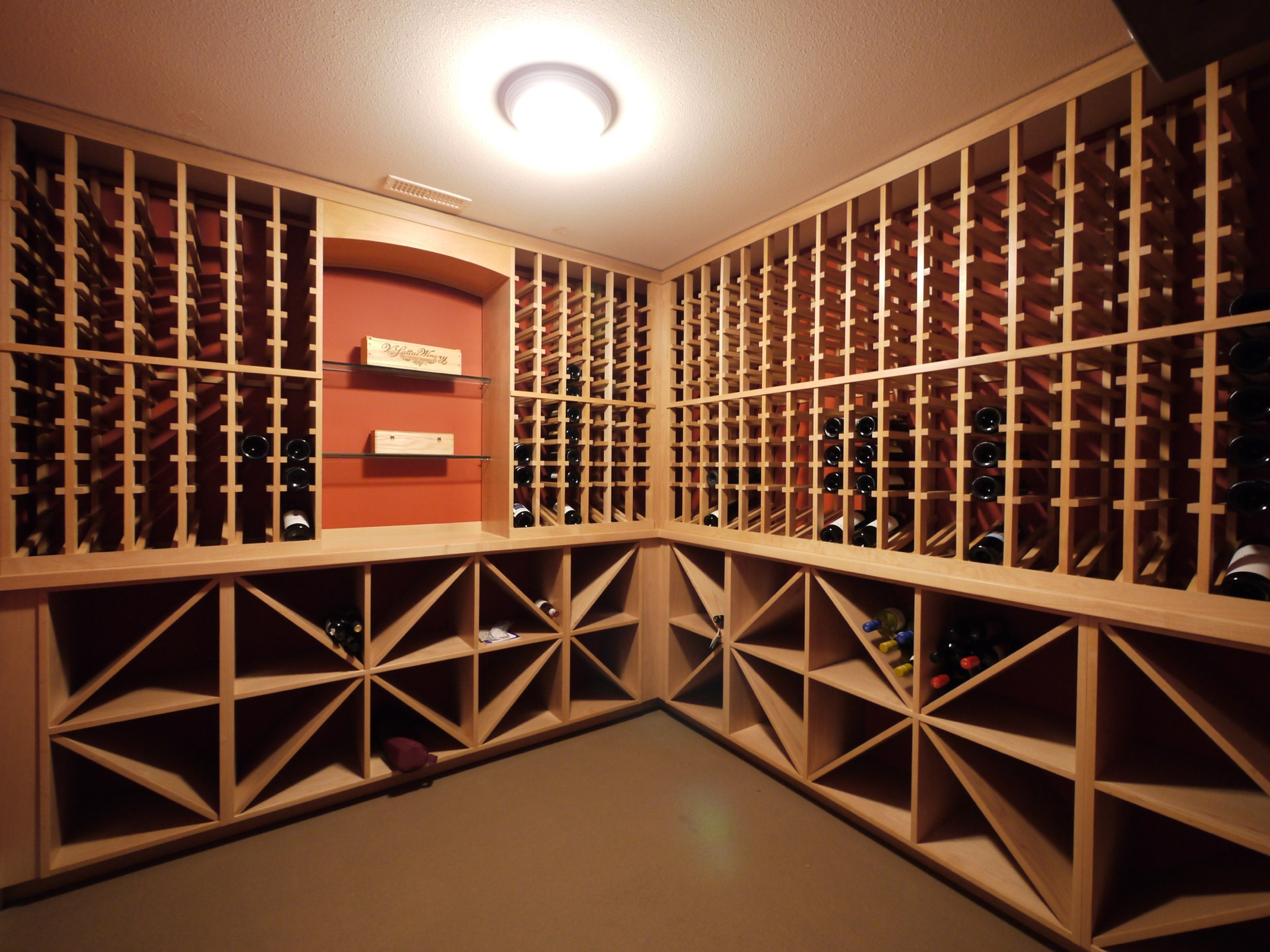 Angle Light Wood Wine Cellar