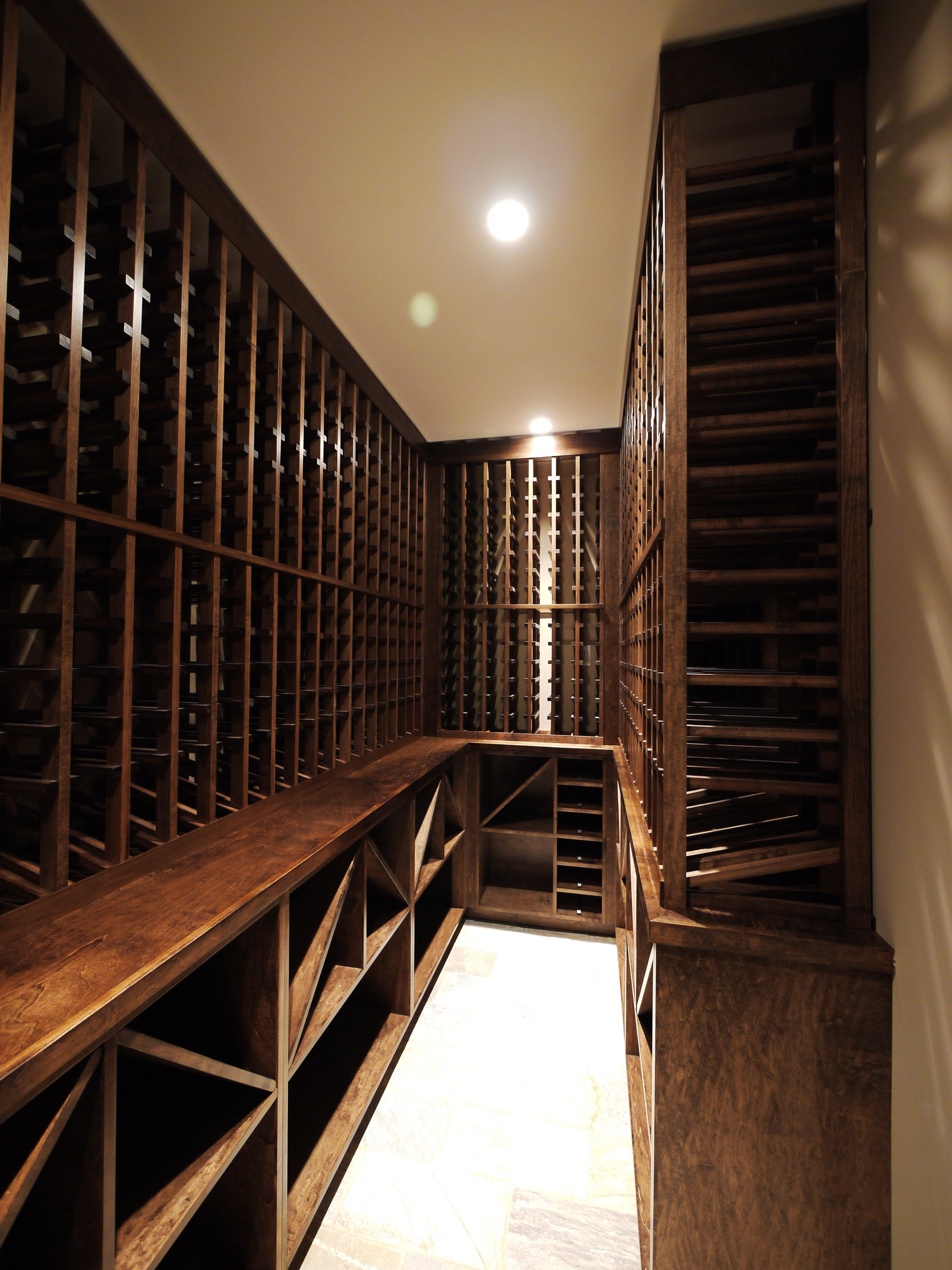 Narrow Dark Wood Wine Cellar Empty