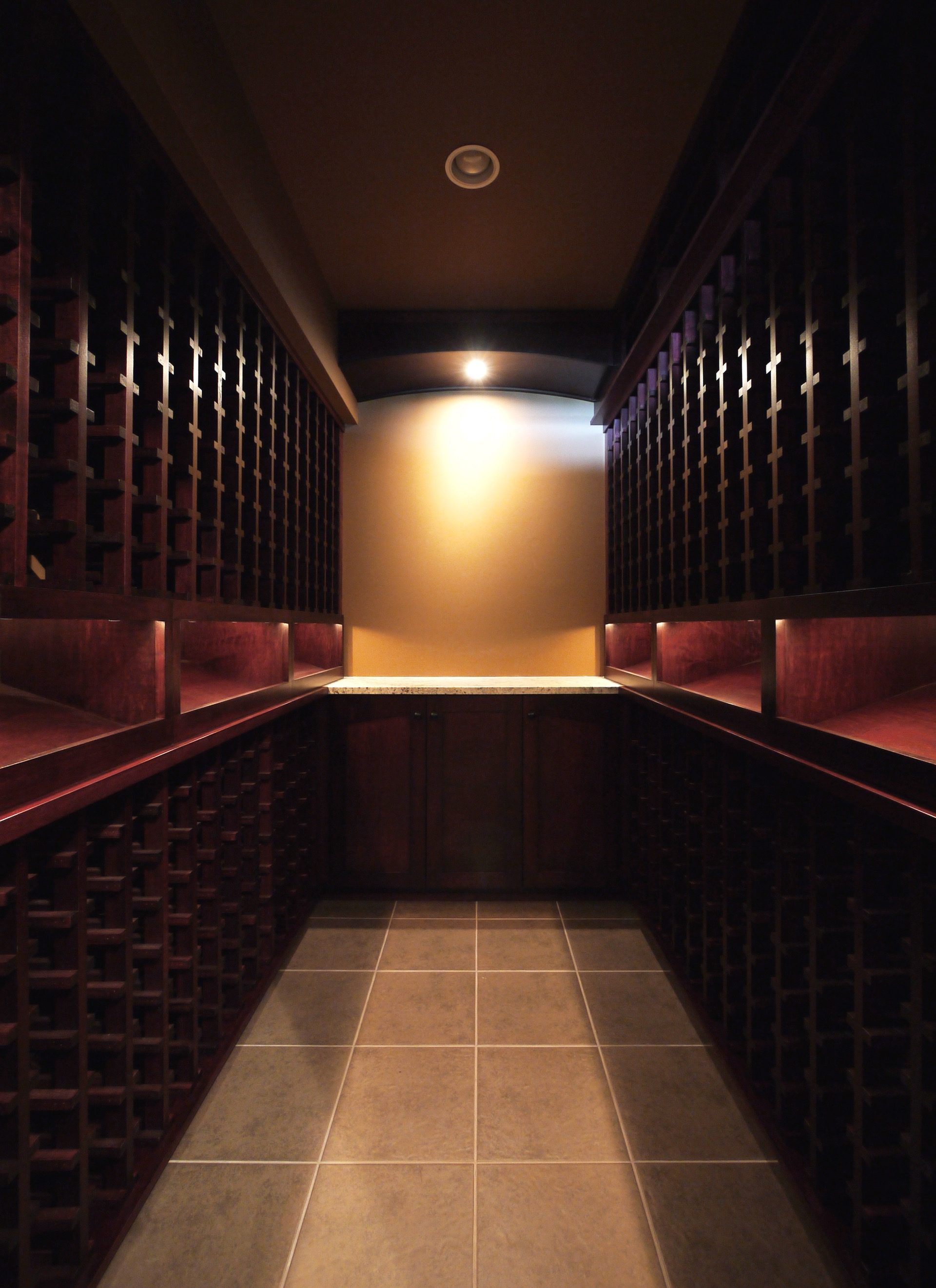 Empty Dark Wood Wine Cellar