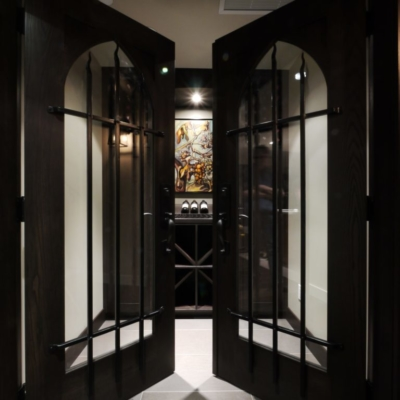 Entrance Dark Wine Cellar with Tile Flooring