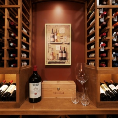 Close Up Wood Wine Cellar