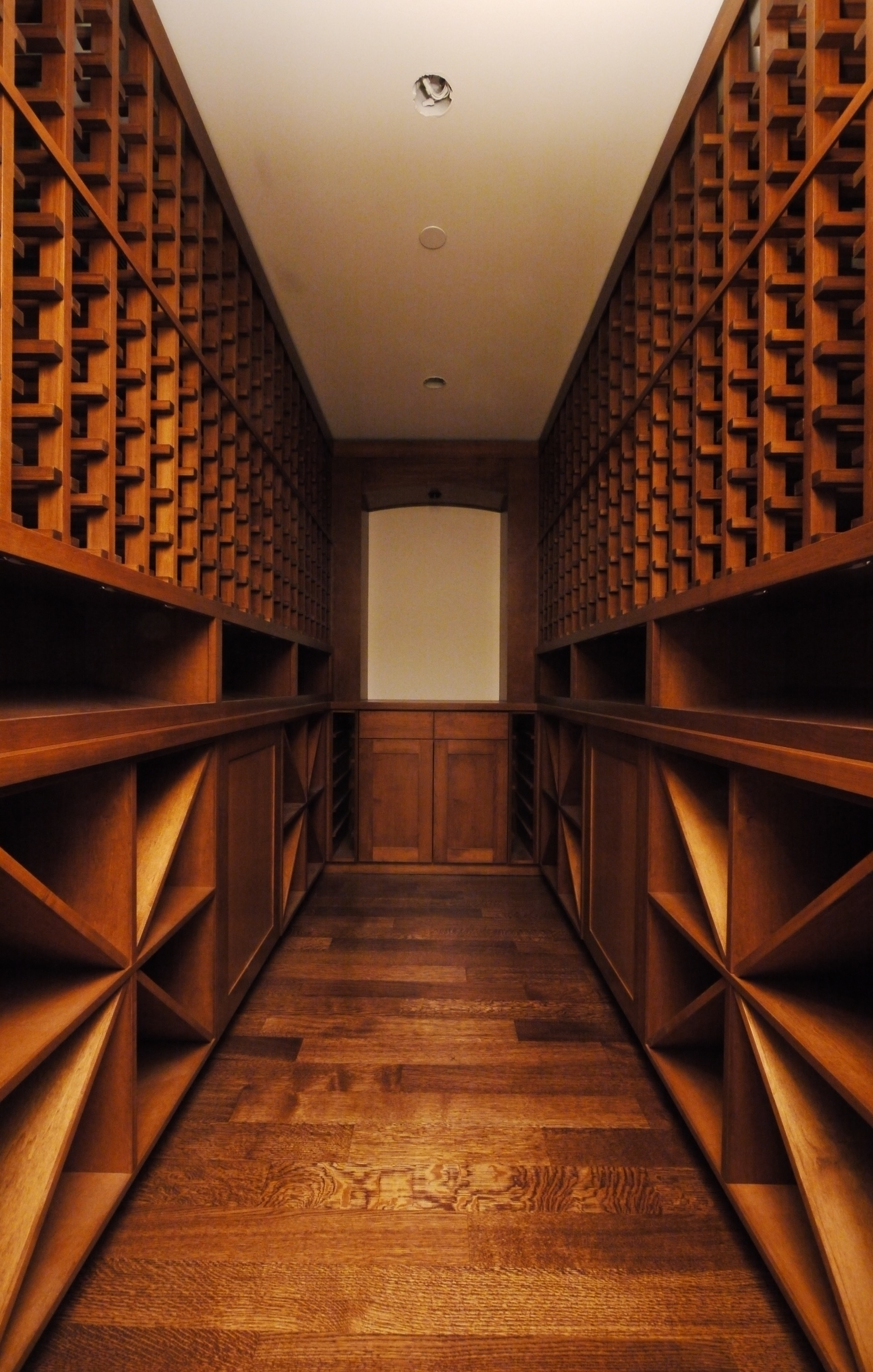 Narrow Empty Wood Wine Cellar