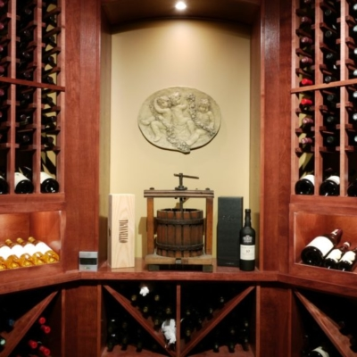 Front Close up Wood Wine Cellar