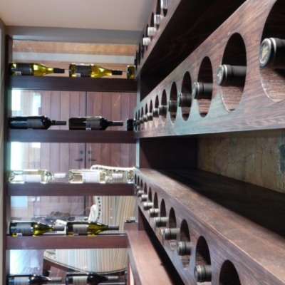 Side Close up Dark Wood Wine Cellar
