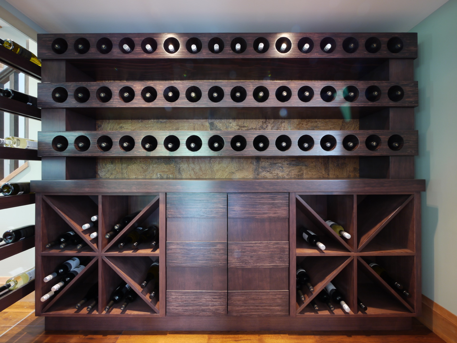 Front Dark Wood Wine Cellar with Cabinet