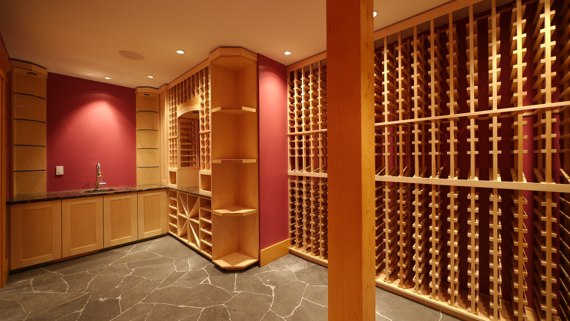 Empty Large Light Wood Wine Cellar