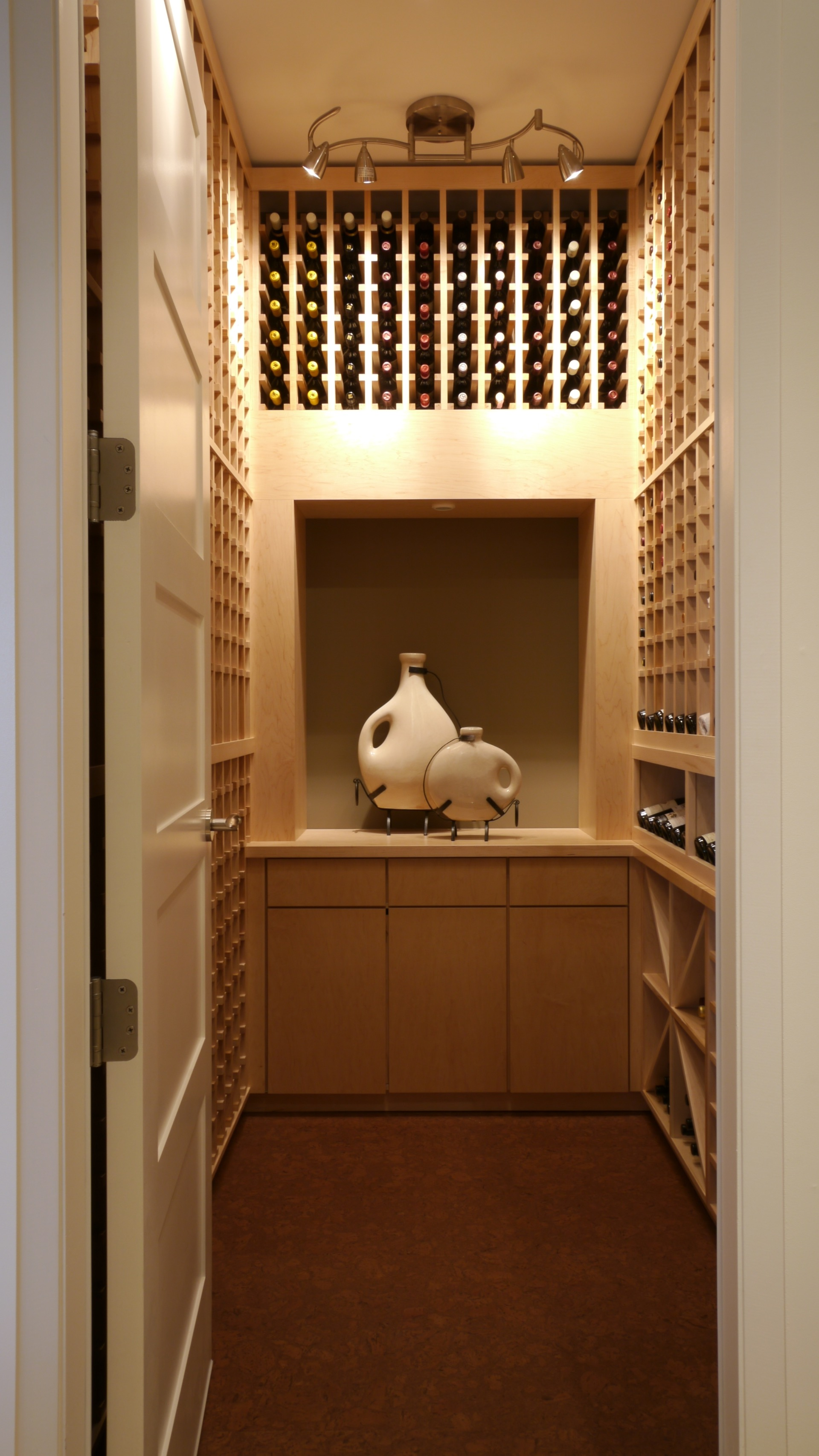 Turn Closet Into Wine Cellar Light Wood