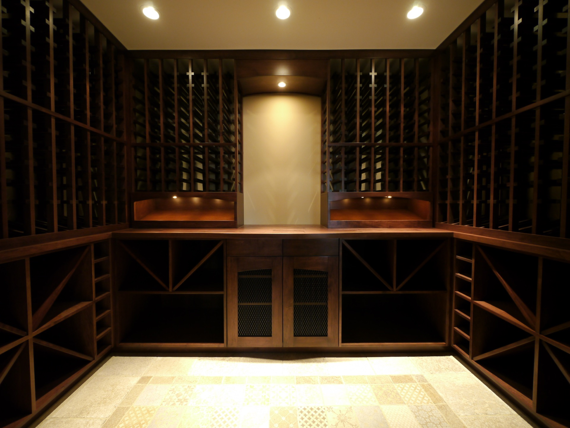 Empty Dark Wood Wine Cellar Middle Frame