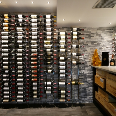 Front Wine Cellar with Rack On Stone