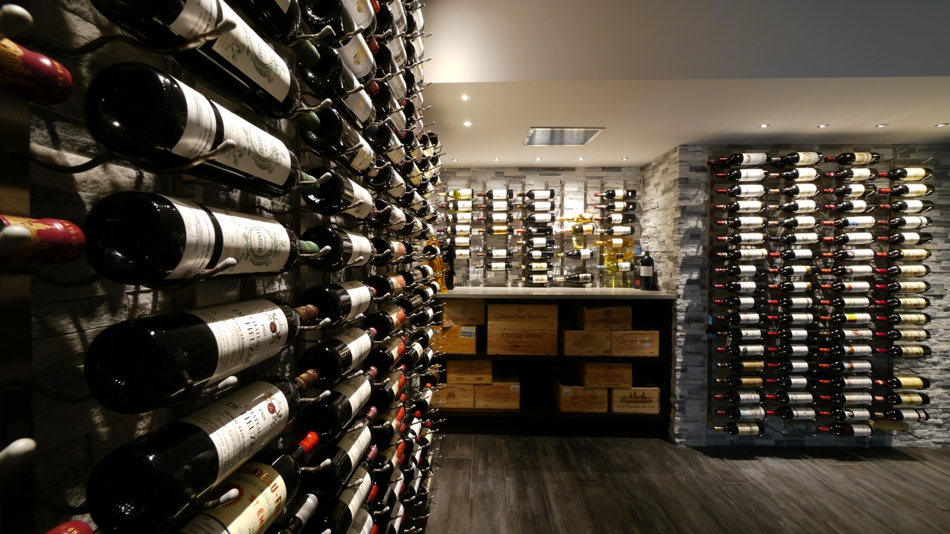 Close Wine Cellar with Rack On Stone