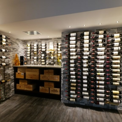 Full Wine Cellar with Racks on Stone