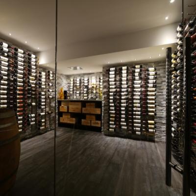Lit Grey Wine Cellar Stone