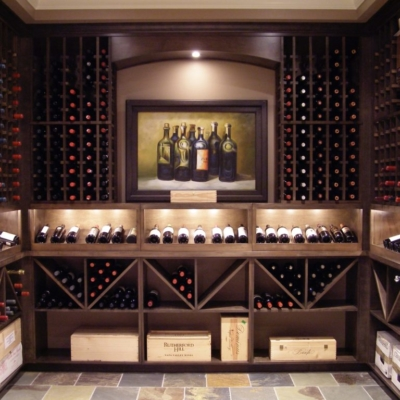 Front Dark Wood Wine Cellar Around Painting