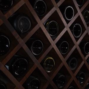 Dark Wood Wine Cellar Close Up