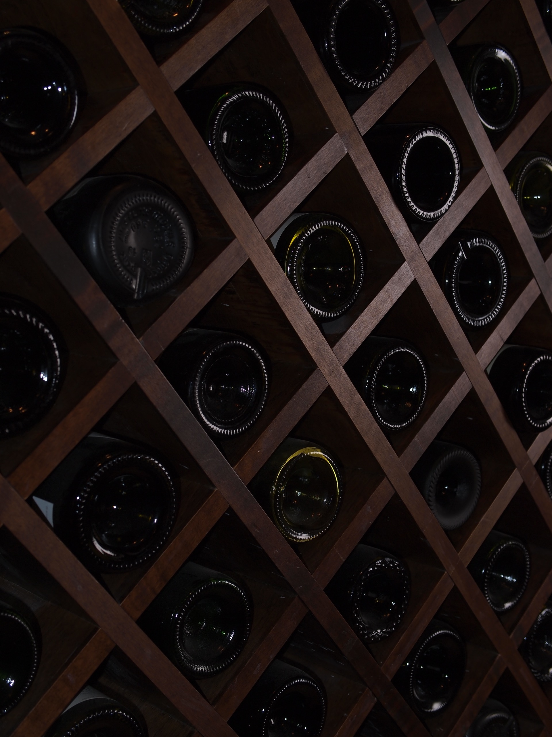 Dark Wood Wine Cellar Close Up