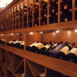 Light Wood Wine Cellar Close Up