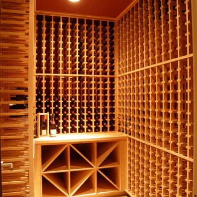 Entrance Light Wood Wine Cellar Racks Room